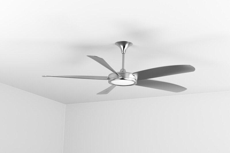 Silver ceiling fan