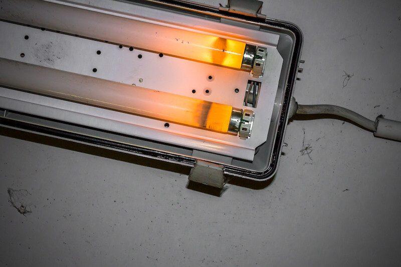 Broken neon lamp