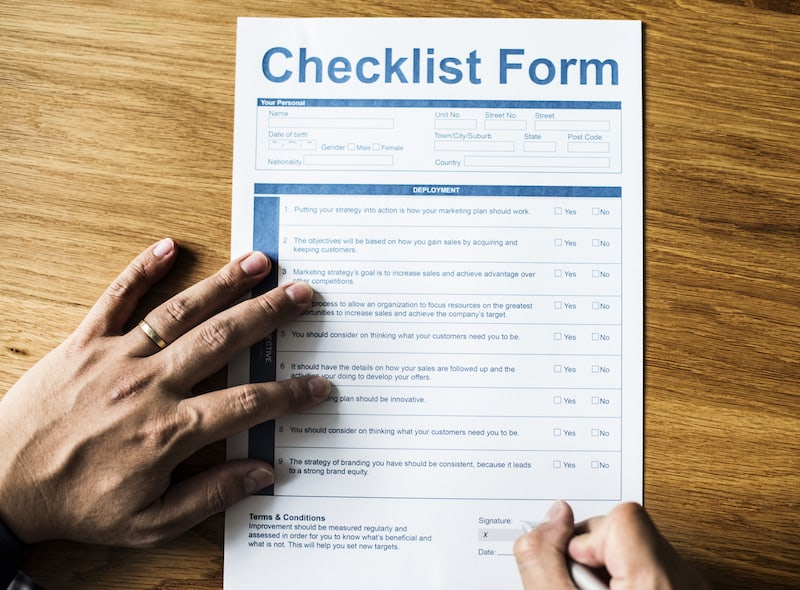 Closeup of life checklist form